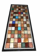 2.5and039x5and039 Black Marble Dining Table Top Semi Precious Stone Marquetry Inlaid Decor