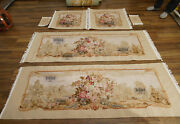 Shabby Chic Aubusson Sofa Cover Silk Wool Louis Xiv Hand Woven Luxury Floral