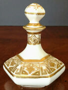 Antique White Porcelain Personal Decanter W/stopper Hand Decorated W/gold++