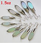 10 Pieces 1.5oz Kast Spoons Silver Holographic Saltwater Trolling Fishing Lure