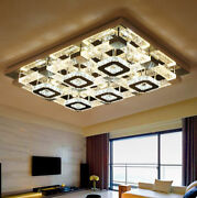 Led Remote Control Bubble Crystal Square Ceiling Lights Pendant Lamp Chandelier
