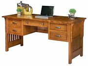 Amish Computer Desk Mission Arts And Crafts Solid Wood Office Furniture