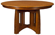 Amish Mission Craftsman Round Pedestal Dining Table Solid Wood 4854 60