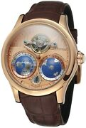 Men's Automatic Gold-color Stainless Steel Case World Map Dial Wrist Watch