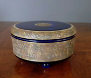 Moser Cobalt Blue Lidded Glass W/gold Warrior Scene Frieze Early 1900and039s Perfect