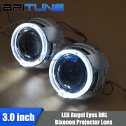 3.0and039and039 Super Bi-xenon Projector Lens W/ Led Angel Eyes Drl Halo Headlight Tuning