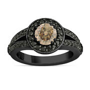 Fancy Champagne Brown Diamond Engagement Ring 14k Black Gold Vintage Style