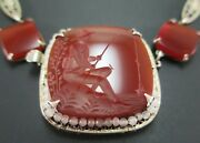 Vintage Intaglio Etched Carnelian Necklace Sterling Silver Fishing Fisherman