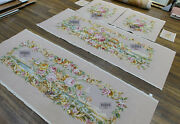 Renaissance Full Floral Luxury Aubusson Sofa Cover Silk Wool Hand Woven Muted
