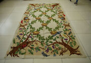 6and039 X 9and039 Antique Needlepoint French Countryside Rug Tree Green Leaves Birds Nests