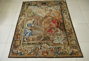 6and039 X 7.3and039 Antique Aubusson Seeing Off Scene Tapestry Handmade Horse Food Cherubs