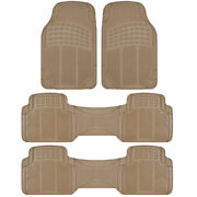 All Weather Rubber Car Floor Mats For 3 Row Suvs For Buick Enclave - Beige