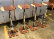 Antique Industrial Set Of 4 Cast Iron Swivel Stool Rosewood Base And Seat