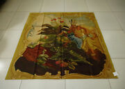 4.8and039 X 5.2and039 Antique Aubusson Still Life Tapestry Hand-woven Cherub Flower Vtg.