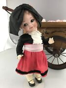 """10"""" Antique German Bisque Head Googly Doll A M 323 French Travel Doll"""