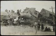 Quenemo Kansas Ks 1911 Head On Train Wreck Rppc Real Photo Postcard Postal Error