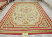 9.84and039 X 13.12and039 Living Room Decor Aubusson Luxury Floral Rug Ivory Gold Handmade