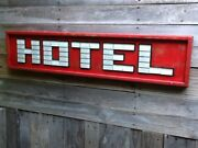 Hotel Glass Ceramic Tile And Wooden Sign - Route 66 Vintage Look