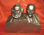 Karl Marx And Lenin Communism Theory Foundators Master Sculptor Tomsky Bust 1960th
