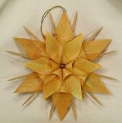 7 Shaved/curled/carved Stick Starflower Wood Shaving Christmas Ornament Germany