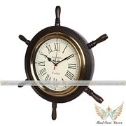 Vintage Collectible Wood And Brass London 18ship Wheel Antique Wall Clock Decor