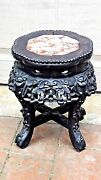 Antique19c Chinese Rosewood Carved Marble Top Side Tableplant Stand