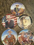 5 John Wayne Collector Plates By Franklin Mint Heirloom. Numbered