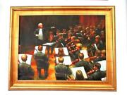 Original Signed Oil Painting The Conductor Artist R.m. Zoya Oil On Canvas