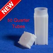 Lot Of 50 Coin Safe Square Tube For Us Quarter Coins New Deal Free Shipping