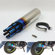 Blue Steel Motocycle Rotary Cannon Style Exhaust Pipe Muffler Tip 32mm Inlet New