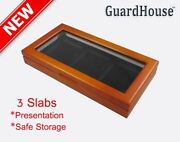Wood Presentation Box Case For 3 Ngc Pcgc Igc Coin Slabs Glass Top Display New
