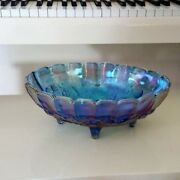 12 Inch Indiana Glass Harvest Grape Oval Center Bowl In Blue Carnival Glass