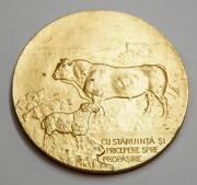 Romania Agricultural Minister Table Medal - Gold Gilt Bronze 60 Mm