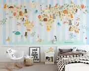 3d Animal World Map 8 Wall Paper Exclusive Mxy Wallpaper Mural Decal Indoor Wall