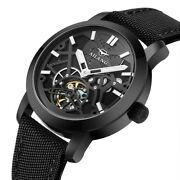 Tourbillon Automatic Mechanical Menand039s Watch Skeleton Swiss Canvas/leather Strap