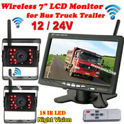 Wireless Reversing System For Bus Truck Rvs 7 Lcd Monitor + 2x Back Up Camera