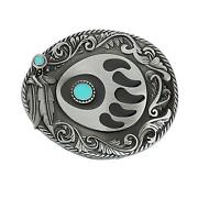 Bear Claws Turquoise Feather Men's Cowgirls Waist Belt Buckle Head Metal