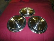 1969 Through 1979 Ford Used Accessory Set Of 3 Large Hubcaps, Wheel Covers.