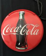 Vintage Coca Cola Wall Or Table Phone 1995 Round Red Retro Kitchen 12 Soda