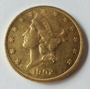1902-s 20 Dollar Liberty Gold Coin In About Uncirculated Condition