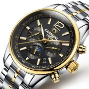 Luxury Mens Automatic Mechanical Watch Swiss Date Business Full Steel Moon Phase