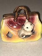 Vintage Cat In A Gladstone Bag Japan Foot In Foot Out Series Ceramic Figure