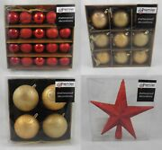 Christmas Tree Decorations Shatterproof Baubles Red And Gold Various Designs