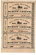 State Of Virginia City Of Richmond 60 Cent Banknotes Uncut Sheet Rare W/ Error