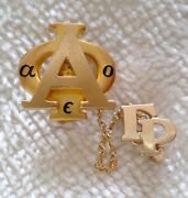 Vintage 1963 Alpha Phi 10k Gold Sorority Pin With Chain And Chapter Guard Greek