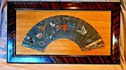 Antique Japanese 18c-19c Polichrome Watercolor Fan Painting Of Butterfliesframe