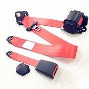 Automatic Retractable 3 Point Vehicle Car Safety Seat Belt Buckle Kit Red Strap