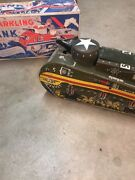 Vintage 1940and039s Marx Tin Litho Wind Up Sparkling Doughboy Army Tank Toy W/box Usa