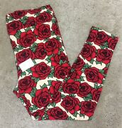 Nwt Lularoe Leggings Tc2 Cream Red Roses Red And Black Floral 18+ New