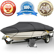 Brand New Boat Storage Cover 16ft 17ft 18ft Gray Tie Down Straps Weather Proof